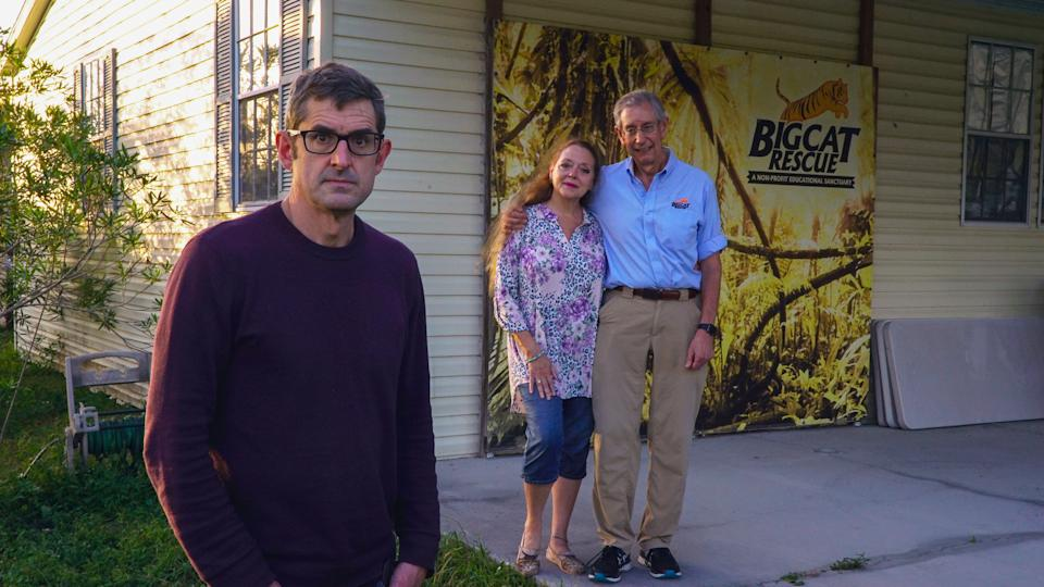 Louis with Carole and Howard Baskin at Big Cat Rescue Tampa, Florida (Mindhouse/Jack Rampling)