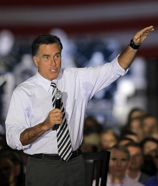 Republican presidential candidate, former Massachusetts Gov. Mitt Romney campaigns at Ariel Corporation, Wednesday, Oct. 10, 2012, in Mount Vernon, Ohio. (AP Photo/Tony Dejak)