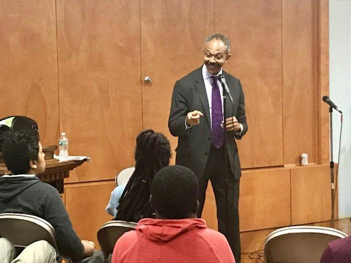 Peter Harvey, appointed to oversee Newark Police Department reforms, talks to Newark residents June 19, 2017.