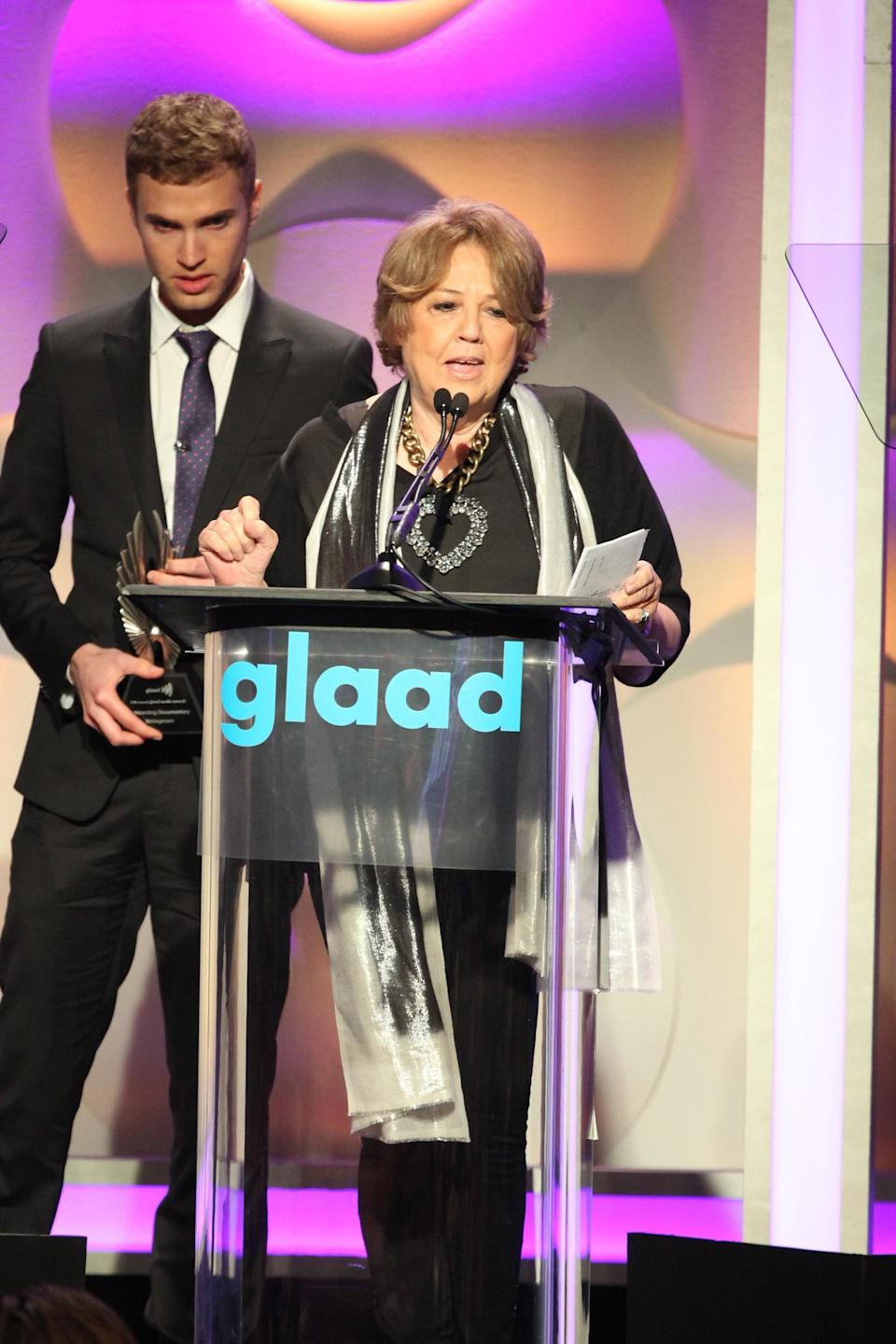 Producer Linda Bloodworth Thomason and filmmaker Shane Bitney Crone at the GLAAD Media Awards in Los Angeles in 2014. (Photo by Gabriel Olsen/Getty Images)