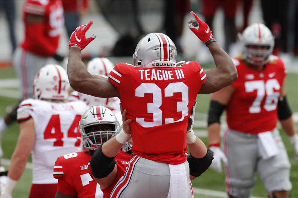 Ohio State running back Master Teague celebrates his touchdown against Nebraska during the first half of an NCAA college football game Saturday, Oct. 24, 2020, in Columbus, Ohio. (AP Photo/Jay LaPrete)