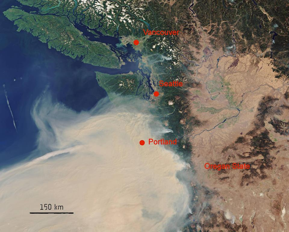 In late summer 2020 the west coast of the US experienced multiple devastating wildfires (ESA/PA)
