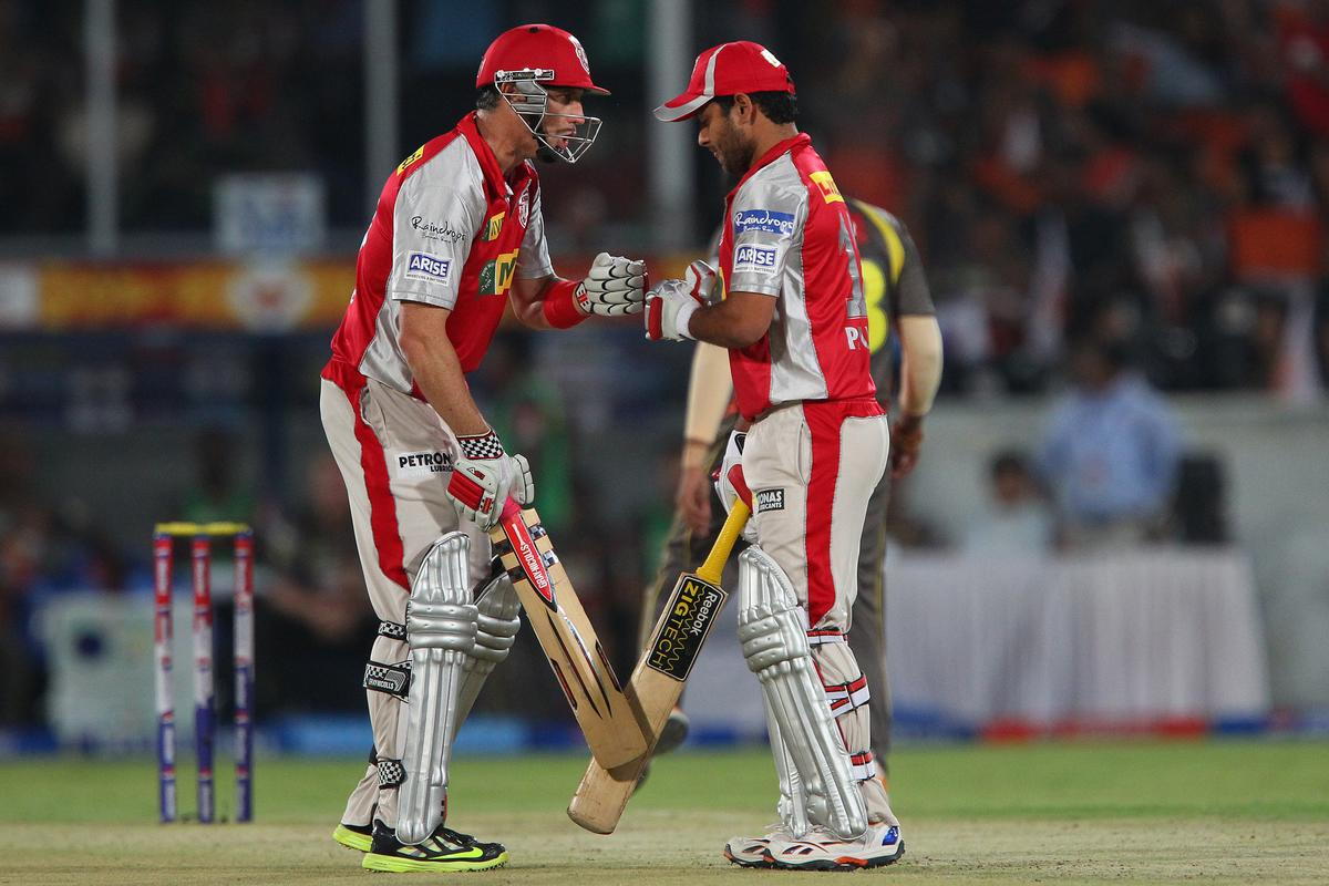 David Hussey and Piyush Chawla during match 25 of the Pepsi Indian Premier League between The Sunrisers Hyderabad and The Kings XI Punjab held at the Rajiv Gandhi International  Stadium, Hyderabad  on the 19th April 2013..Photo by Ron Gaunt-IPL-SPORTZPICS..Use of this image is subject to the terms and conditions as outlined by the BCCI. These terms can be found by following this link:..https://ec.yimg.com/ec?url=http%3a%2f%2fwww.sportzpics.co.za%2fimage%2fI0000SoRagM2cIEc&t=1506146072&sig=b73qKJqcufh3aMu88Yswxw--~D