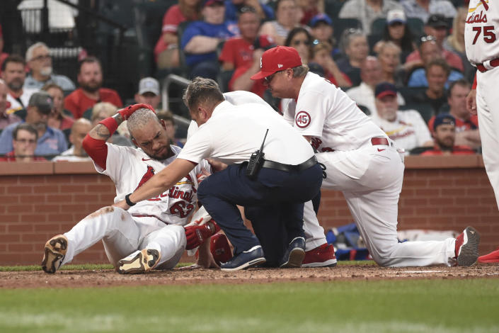 St. Louis Cardinals' Edmundo Sosa, left, is checked on by trainers after being hit by a pitch during the seventh inning of a baseball game against the Chicago Cubs on Thursday, July 22, 2021, in St. Louis. (AP Photo/Joe Puetz)