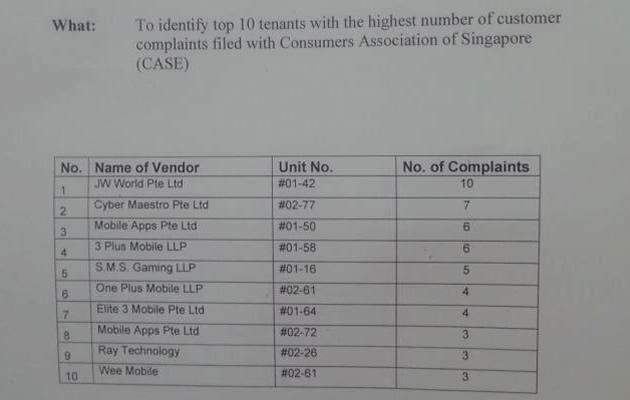 A list of 10 rogue vendors have been put up around lift lobbies at IT mall Sim Lim Square (EDMW Facebook)