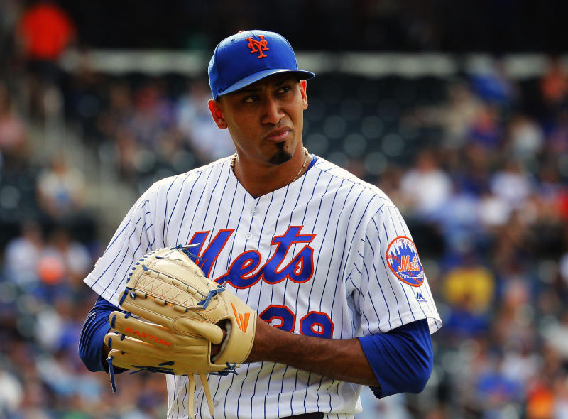 Aug 11, 2019; New York City, NY, USA; New York Mets relief pitcher Edwin Diaz (39) reacts after giving up a two run home run against the Washington Nationals during the ninth inning at Citi Field. Mandatory Credit: Andy Marlin-USA TODAY Sports