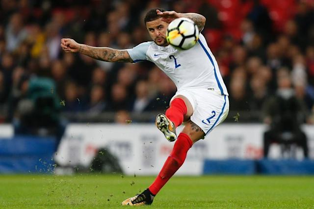 England's defender Kyle Walker takes a shot from a free kick during the FIFA World Cup 2018 qualification football match against Slovenia October 5, 2017 (AFP Photo/Ian KINGTON)