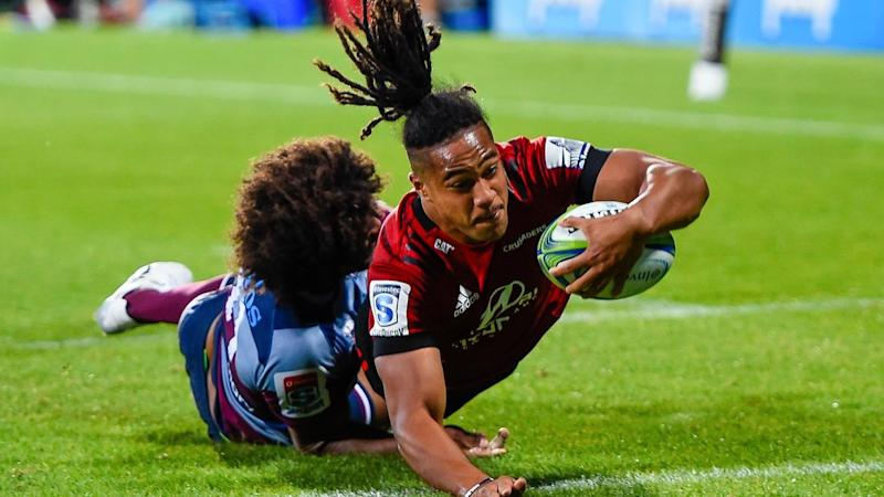 The Crusaders have beaten the Queensland Reds 24-20 in their Super Rugby clash in Christchurch