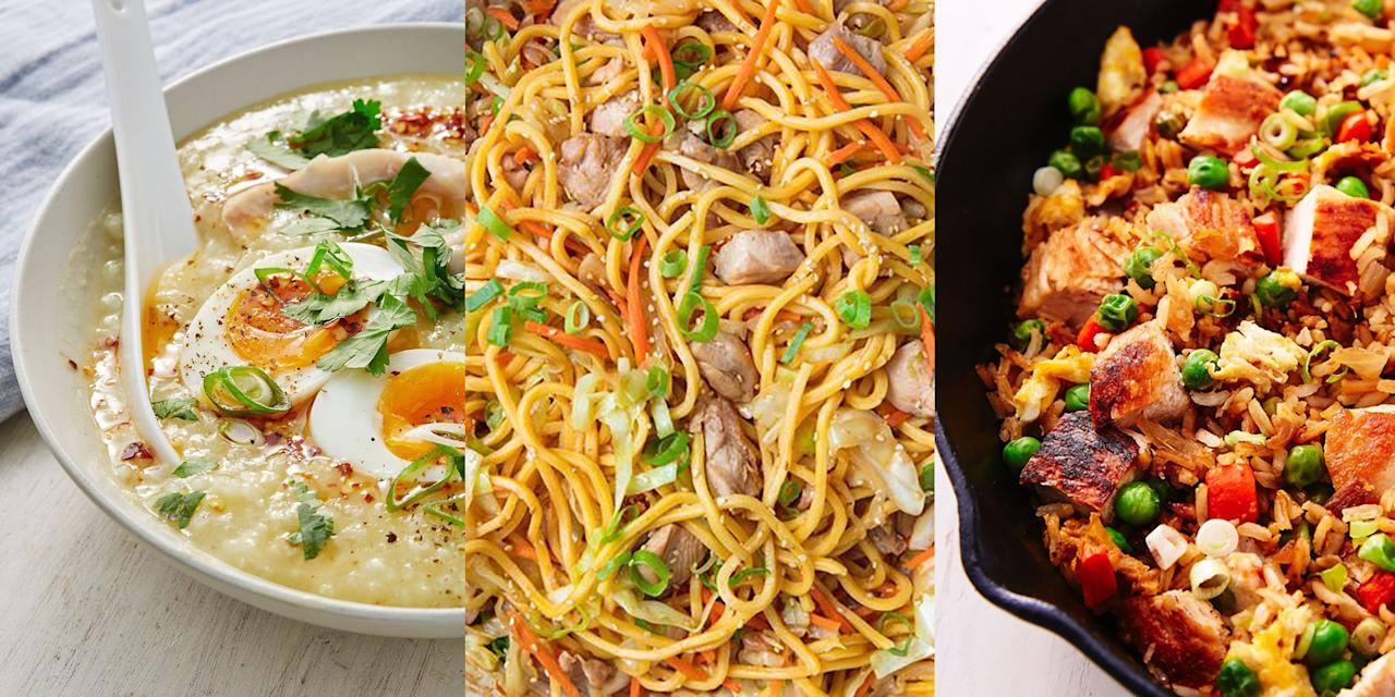 """<p>We're calling it! Day-old <a href=""""https://www.delish.com/uk/chicken-recipes/"""" target=""""_blank"""">chicken</a> tastes delicious. And we're big fans of making the most out of a whole cooked chicken, there's no way we're throwing all that leftover goodness away! So, we've rounded-up our favourite leftover chicken recipes with everything from <a href=""""https://www.delish.com/uk/cooking/recipes/a30119032/chicken-fried-rice-recipe/"""" target=""""_blank"""">Chicken Fried Rice</a> to <a href=""""https://www.delish.com/uk/cooking/recipes/a30438961/chicken-pasta-salad/"""" target=""""_blank"""">Chicken Pasta Salad</a>, and you're going to love them (we promise). <br></p>"""