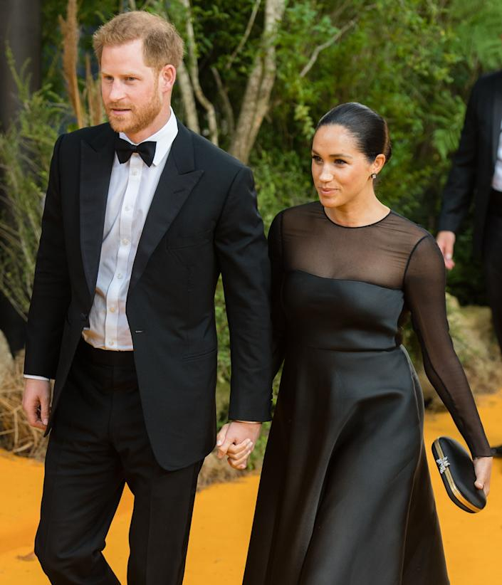 """The Duke and Duchess of Sussex attend """"The Lion King"""" European premiere at Leicester Square on July 14 in London. (Photo: Samir Hussein via Getty Images)"""