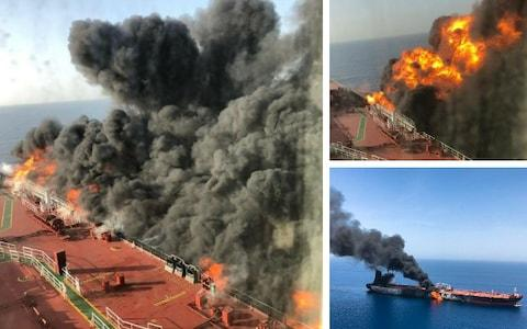 Pictures on board an oil tanker (left, top right) shows it billowing black smoke, which can be seen from afar (bottom right) - Credit: Fars News Agency/AP