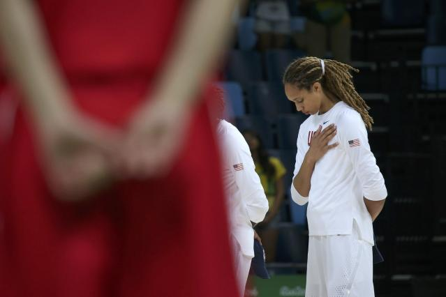 2016 Rio Olympics - Basketball - Quarterfinal - Women's Quarterfinal USA v Japan - Carioca Arena 1 - Rio de Janeiro, Brazil - 16/8/2016. Brittney Griner (USA) of USA stands for the playing of the U.S. National Anthem before the start of the game. REUTERS/Shannon Stapleton FOR EDITORIAL USE ONLY. NOT FOR SALE FOR MARKETING OR ADVERTISING CAMPAIGNS.