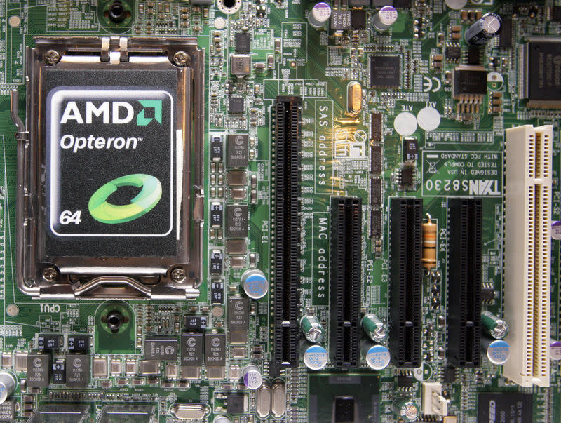 FILE PHOTO: A new AMD Opteron 6000 series processor is seen on a motherboard during a product launch in Taipei