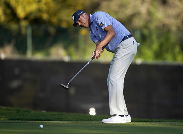Matt Kuchar putts on the 13th green during the second round of the Genesis Invitational golf tournament at Riviera Country Club, Friday, Feb. 14, 2020, in the Pacific Palisades area of Los Angeles. (AP Photo/Ryan Kang)