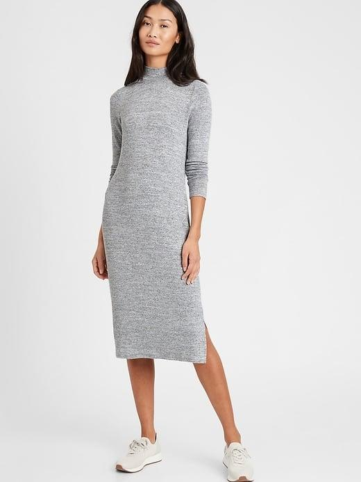<p>This soft <span>Banana Republic Luxespun Mock-Neck Dress</span> ($39, originally $99) looks so good with sneakers outside or with slippers at home.</p>