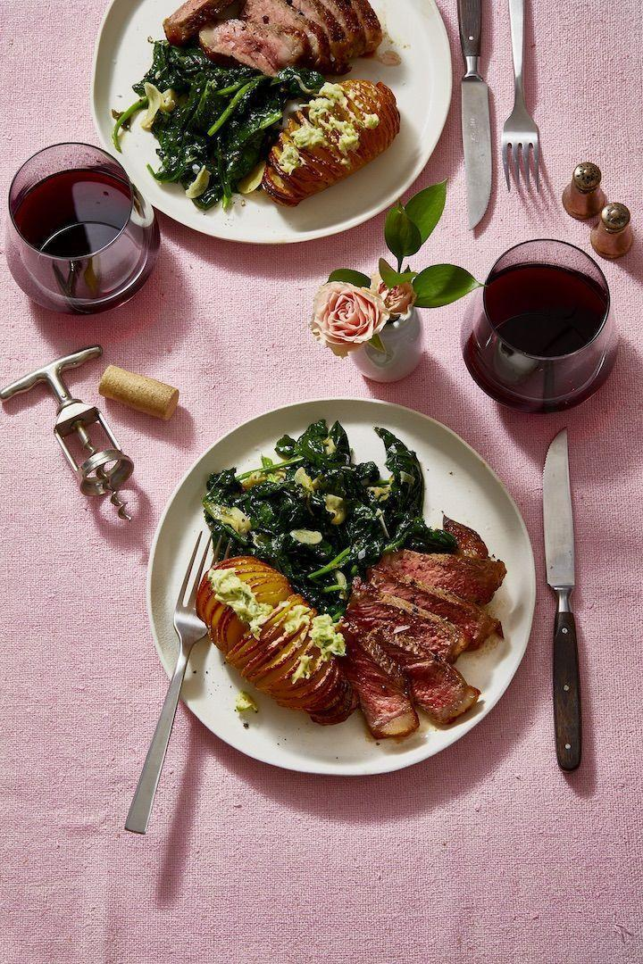 """<p>Steak and plump potatoes may feel routine, but you'll feel super fancy dining on these ridiculously <a href=""""https://www.goodhousekeeping.com/food-recipes/easy/a29760321/hasselback-potatoes-recipe/"""" rel=""""nofollow noopener"""" target=""""_blank"""" data-ylk=""""slk:easy hasselback potatoes"""" class=""""link rapid-noclick-resp"""">easy hasselback potatoes</a>. </p><p><em><a href=""""https://www.goodhousekeeping.com/food-recipes/a29760253/new-york-strip-steak-recipe/"""" rel=""""nofollow noopener"""" target=""""_blank"""" data-ylk=""""slk:Get the recipe for New York Strip Steak »"""" class=""""link rapid-noclick-resp"""">Get the recipe for New York Strip Steak »</a></em></p>"""