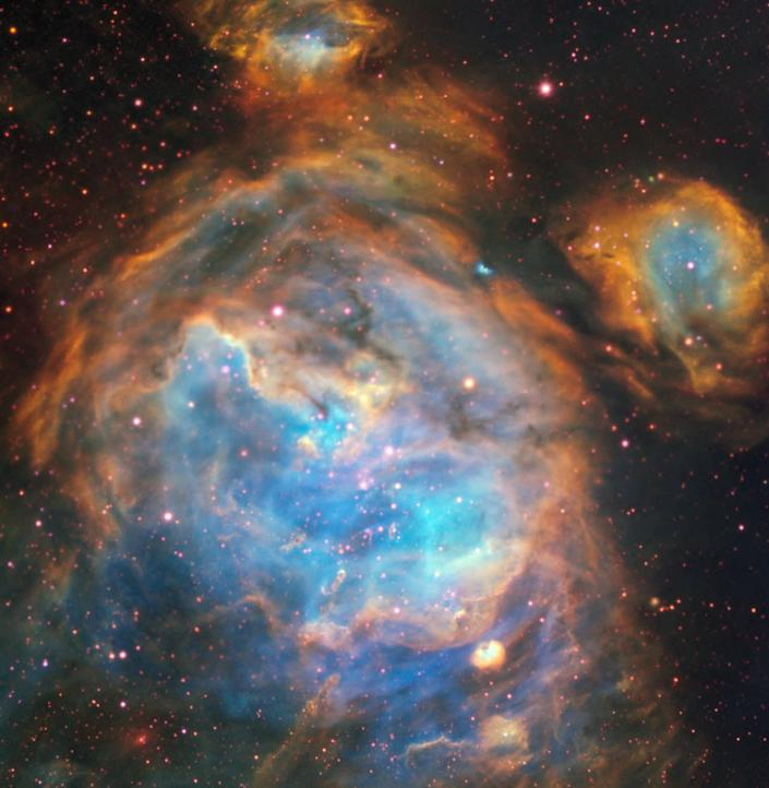 These bubbles of beautiful gas in the nearby Large Magellanic Cloud are nurseries for newborn stars. <cite>A. McLeod et al./ESO</cite>