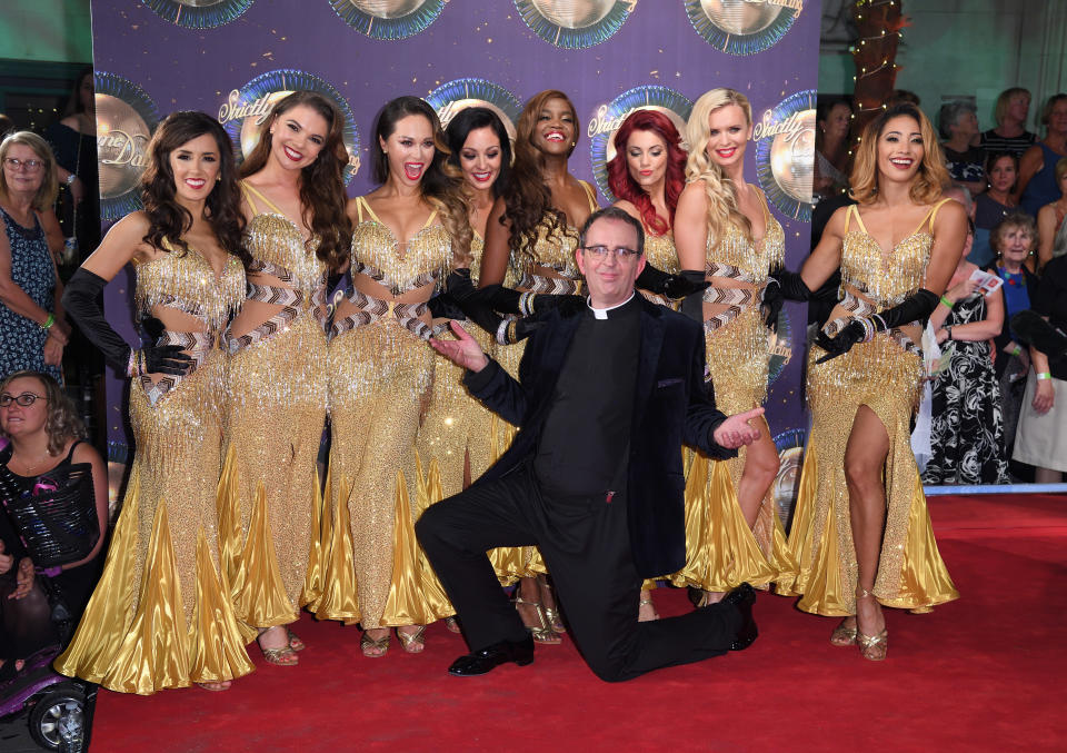 LONDON, ENGLAND - AUGUST 28:  (Back row L-R) Dancers Janette Manrara, Chloe Hewitt, Amy Dowden, Oti Mabuse, Dianne Buswell, Nadiya Bychkova and Karen Clifton (Front row) dancer Katya Jones and contestant Reverend Richard Coles attend the 'Strictly Come Dancing 2017' red carpet launch at Broadcasting House on August 28, 2017 in London, England.  (Photo by Karwai Tang/WireImage)