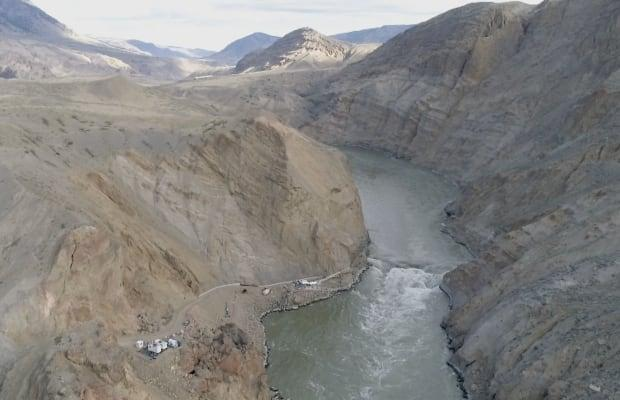 Aerial image of the Big Bar landslide site. The federal government is spending $176 million to construct a permanent fishway through the slide to allow migrating salmon to pass.