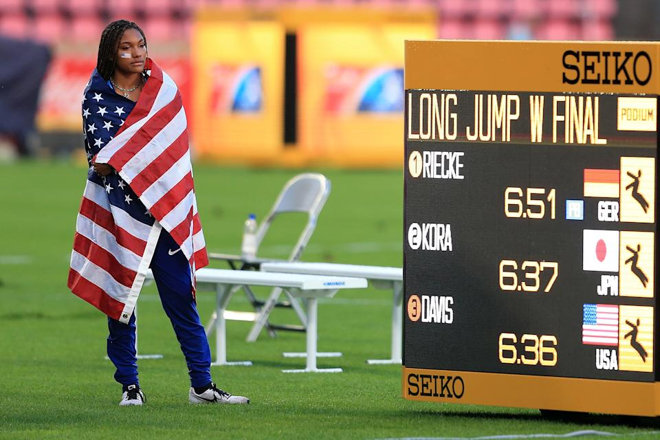 <p>Tara Davis of The USA looks on following the final of the women's long jump on day four of The IAAF World U20 Championships on July 13, 2018 in Tampere, Finland. (Photo by Stephen Pond/Getty Images for IAAF)</p>
