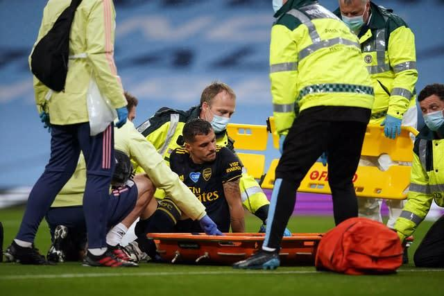 Arsenal had an injury nightmare as first Granit Xhaka (pictured) and then Pablo Mari were forced off (Dave Thompson/NMC Pool/PA)