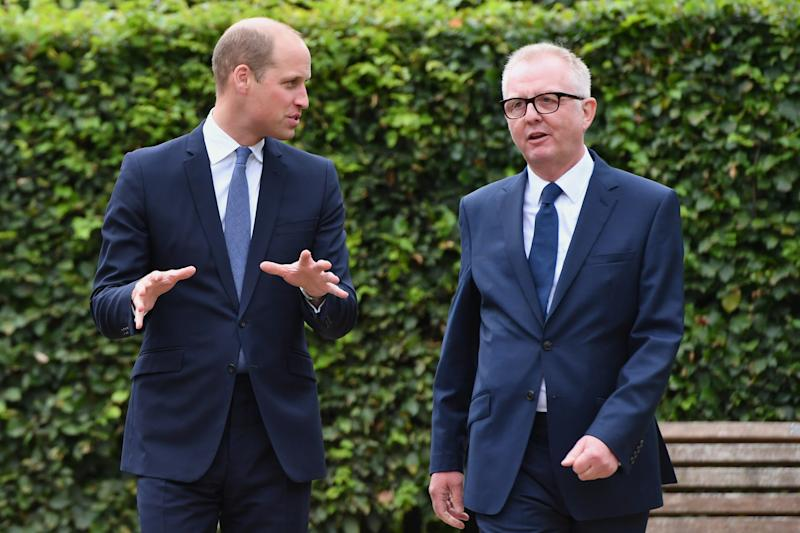 STOURBRIDGE, ENGLAND - SEPTEMBER 18: Prince William, Duke of Cambridge speaks with Ian Austin MP before unveiling a new sculpture of Major Frank Foley by artist Andy de Comyn on September 18, 2018 in Stourbridge, United Kingdom. Major Foley was a British Intelligence Officer for the Embassy in Berlin where he bent the rules to allow thousands of Jewish families escape Nazi Germany. (Photo by Anthony Devlin/Getty Images)