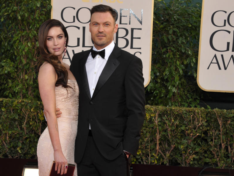 FILE - In this Jan. 13, 2013 file photo, actress Megan Fox and actor Brian Austin Green arrive at the 70th Annual Golden Globe Awards at the Beverly Hilton Hotel in Beverly Hills, Calif. A publicist confirmed Friday, Aug. 2, 2013, that Fox and her husband, Green, are expecting their second child. (Photo by John Shearer/Invision/AP, File)