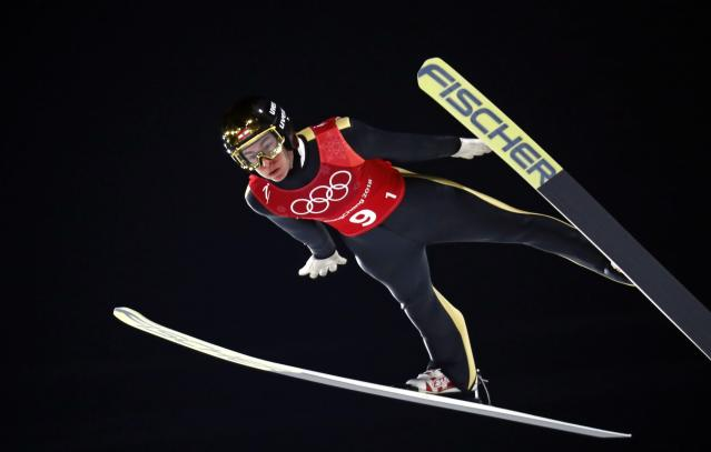 Ski Jumping - Pyeongchang 2018 Winter Olympics - Men's Team Trial round - Alpensia Ski Jumping Centre - Pyeongchang, South Korea - February 19, 2018 - Stefan Kraft of Austria competes. REUTERS/Dominic Ebenbichler