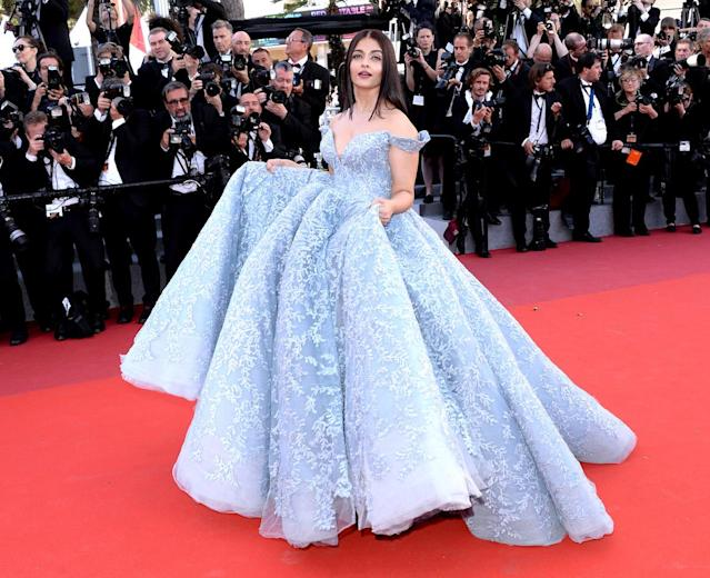 <p>Aishwarya Rai Bachchan had a total Cinderella moment at the <em>Okja </em>premiere. (Photo by Anthony Harvey/FilmMagic) </p>