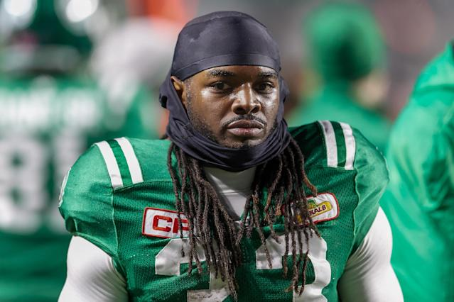 Trent Richardson, shown here with the Saskatchewan Roughriders in 2017, is trying to get back in the NFL through the AAF's Birmingham Iron. (Getty Images)