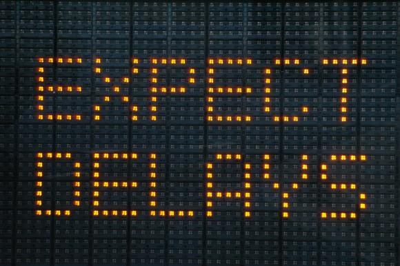 """Freeway sign that reads """"expect delays"""""""