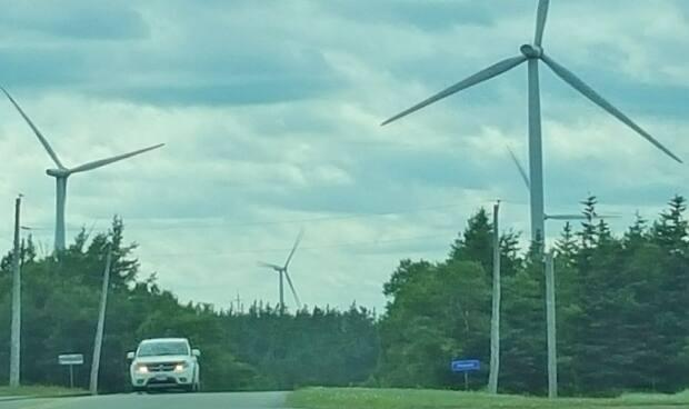 The P.E.I. Energy Corporation, which runs the province's wind farms, proposed to add seven turbines to its existing facility in Eastern Kings, where 10 already stand.  (Angela Walker/CBC - image credit)
