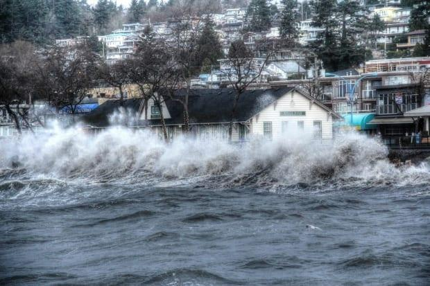 Waves push up on the shoreline in White Rock B.C. during a storm in March, 2016. (Bill Hawke - image credit)