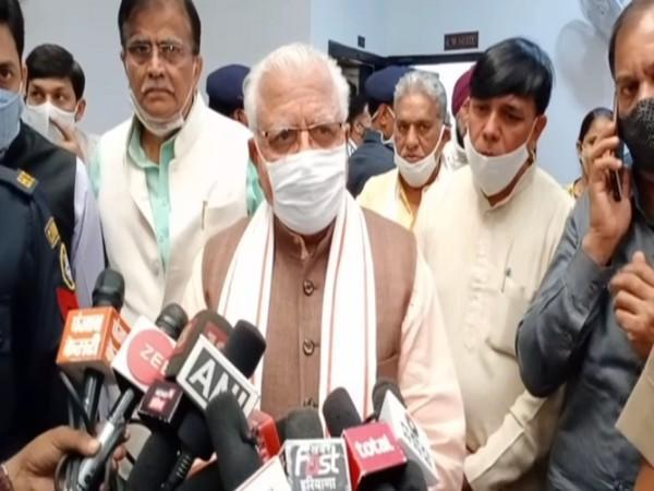 Haryana CM Manohar Lal Khattar speaking to reporters in Rohtak on Friday.