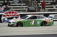 Kevin Harvick (4) drives down the front stretch during a NASCAR Cup Series auto race at Texas Motor Speedway in Fort Worth, Texas, Sunday, Oct. 25, 2020. (AP Photo/Richard W. Rodriguez)