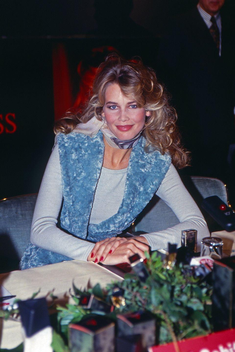 <p>Wearing Alaia for my annual calendar signing. A classic 90s look - big hair, lots of make-up and of course double denim!</p>