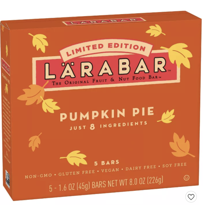 """<p><strong>Larabar</strong></p><p>target.com</p><p><strong>$5.29</strong></p><p><a href=""""https://www.target.com/p/larabar-pumpkin-pie-nutrition-bar-5-count/-/A-39599918"""" rel=""""nofollow noopener"""" target=""""_blank"""" data-ylk=""""slk:Shop Now"""" class=""""link rapid-noclick-resp"""">Shop Now</a></p><p>Another snack bar that will keep you full while you're picking pumpkins, drinking cider, and staring at leaves. Ya know...fall stuff!!</p>"""