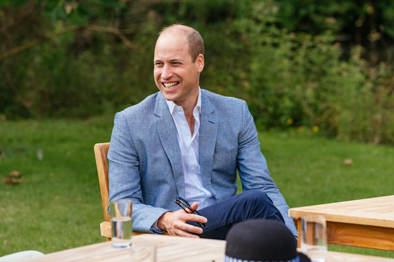 SANDRINGHAM, UNITED KINGDOM - JULY: In this undated handout photo issued on July 23, 2020 by Kensington Palace, Prince William, Duke of Cambridge speaks to four representatives from organisations which will benefit from the Royal Foundation's £1.8 Million fund to support frontline workers and the nation's mental health at the Sandringham Estate in Sandringham, United Kingdom. (Photo by Kensington Palace via Getty Images)