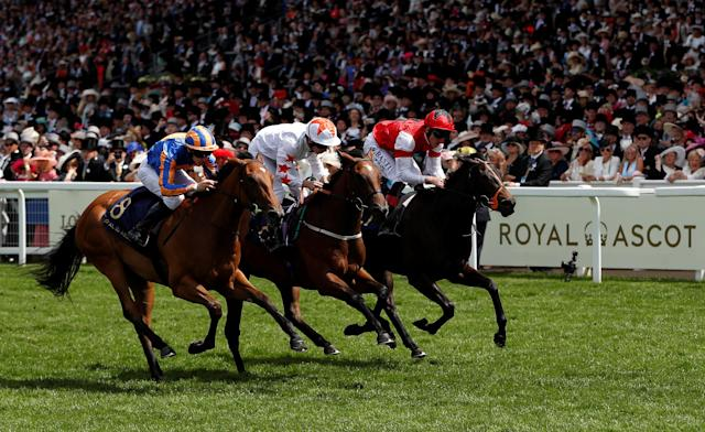 Horse Racing - Royal Ascot - Ascot Racecourse, Ascot, Britain - June 20, 2018 Signora Cabello ridden by Oisin Murphy (C) wins the 2.30 Queen Mary Stakes Action Images via Reuters/Paul Childs