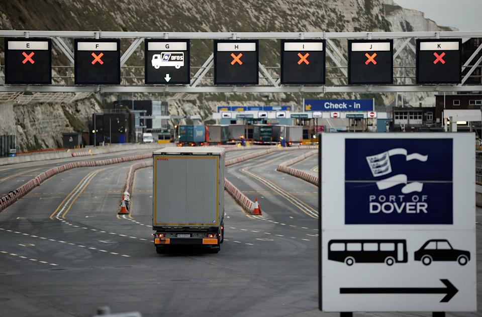 A truck drives towards the entrance to the Port of Dover, UK. Photo: John Sibley/Reuters