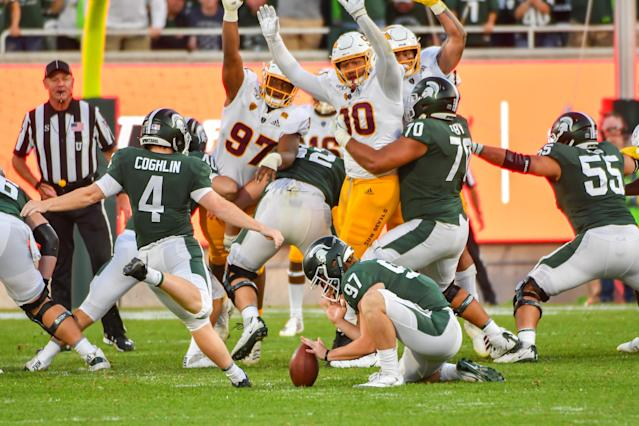 The Pac-12 admitted an officiating error Sunday in Michigan State's loss to Arizona State, one that should have left them with another field goal attempt. (Allan Dranberg/Getty Images)