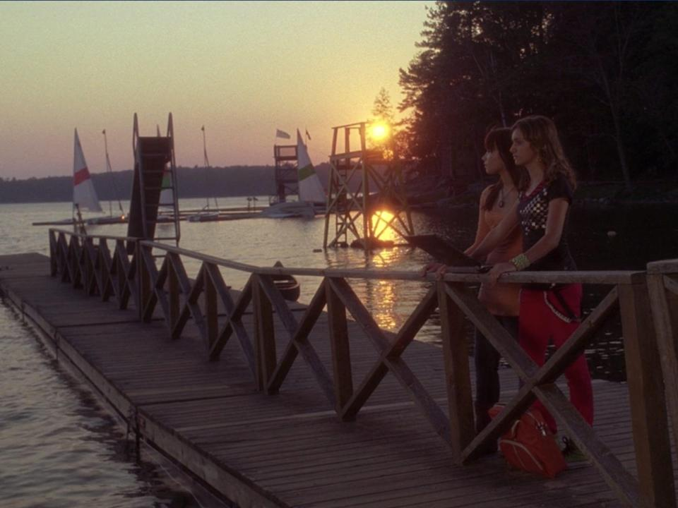 demi lovato and allyson stoner in standing on pier in camp rock