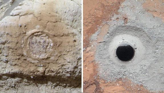 This set of images shows the results from the rock abrasion tool from NASA's Mars Exploration Rover Opportunity (left) and the drill from NASA's Curiosity rover (right). Note how the rock grindings from Opportunity are brownish red, indicating