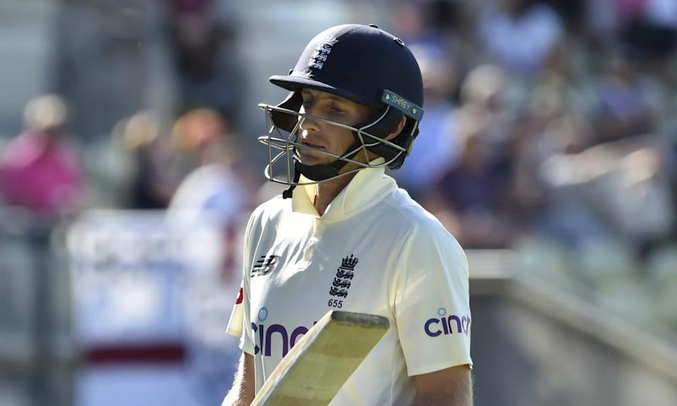 A dejected Joe Root walks off after being dismissed against New Zealand.