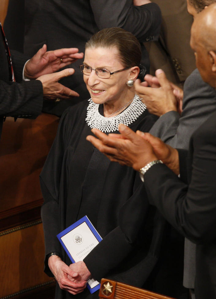 Ruth Bader Ginsburg is applauded in the House Chamber on Capitol Hill prior to President Barack Obama's address to a joint session of Congress. (Photo: Charles Dharapak/AP)