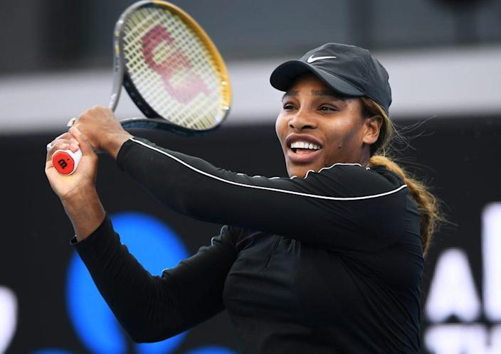 Serena Williams of the USA plays a backhand against Naomi Osaka of Japan during the 'A Day at the Drive' exhibition tournament at Memorial Drive on January 29, 2021 in Adelaide, Australia. (Photo by Mark Brake/Getty Images)