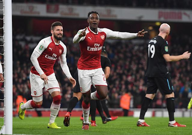 "<a class=""link rapid-noclick-resp"" href=""/soccer/players/danny-welbeck/"" data-ylk=""slk:Danny Welbeck"">Danny Welbeck</a> celebrates his goal for <a class=""link rapid-noclick-resp"" href=""/soccer/teams/arsenal/"" data-ylk=""slk:Arsenal"">Arsenal</a> against <a class=""link rapid-noclick-resp"" href=""/soccer/teams/west-ham-united/"" data-ylk=""slk:West Ham United"">West Ham United</a> in the League Cup quarterfinals. (Getty)"