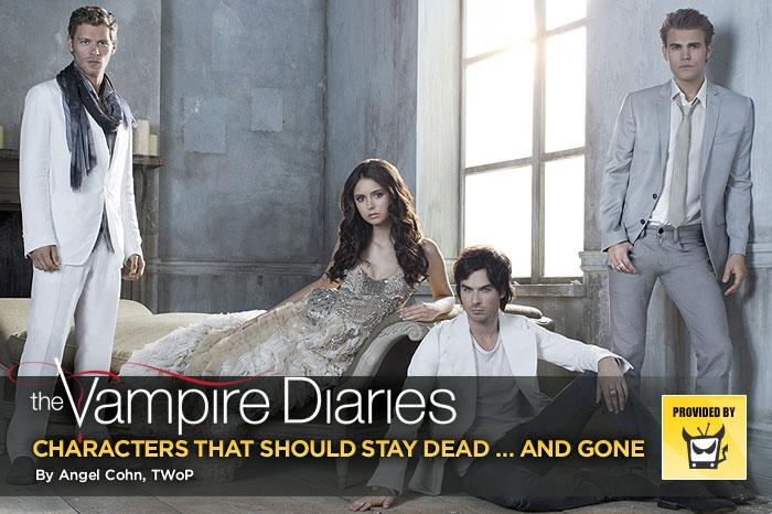 "One of the things we love about ""<a href=""/vampire-diaries/show/44270"">The Vampire Diaries</a>"" is its constant ability to shock and surprise us. And that includes its willingness to make so many characters expendable. The out-of-the-blue deaths often come fast and furious, wreaking entertainingly emotional havoc along the way. But in its third season, the show has gotten into the habit of bringing back the dead in ghostly form and, frankly, we're sick of it. Here's our look at the dearly (and not so dearly) departed folks who we hope stay dead and gone in every which way. — <a href=""http://www.televisionwithoutpity.com/"" target=""_blank"" rel=""nofollow"">Television Without Pity</a>"