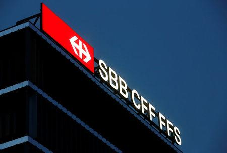 FILE PHOTO - The logo on the headquarters of the Swiss Federal Railways SBB is seen in Bern