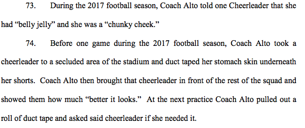 A portion of the lawsuit that claims Altovise Gary body-shamed members of the Houston Texans cheerleading squad. (Photo: U.S. District Court for the Southern District of Texas, Houston Division)